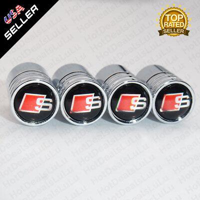 Silver Chrome Car Wheel Tyre Tire Air Valve Caps Stem Cover With Audi S Emblem