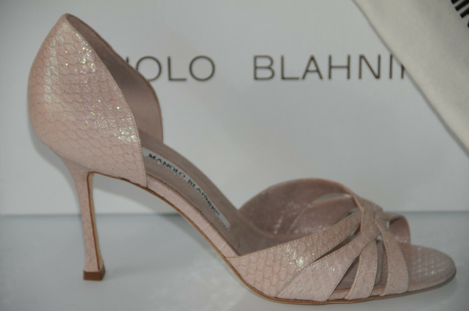 NEW MANOLO BLAHNIK dorsay whiteHIDO 90 Glitter SNAKESKIN Nude pink SHOES 40.5 40