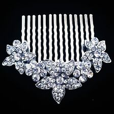 USA Hair Comb Medium using Swarovski Crystal Pin Vintage Bridal Wedding Silver 2