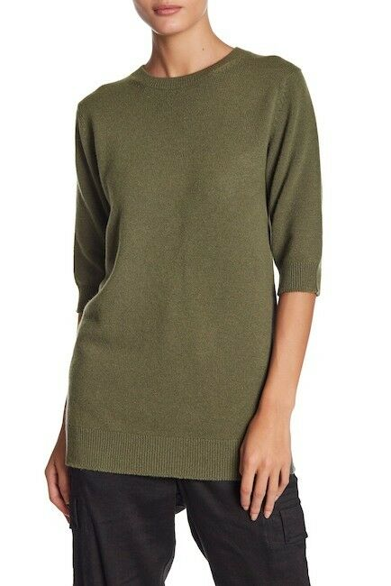 NEW VINCE Elbow Sleeve Cashmere Tunic in Olive - Size XS