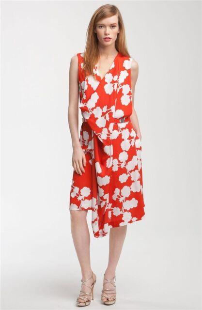 Sz 6 Diane Von Furstenberg Halo Buds Large Red Naira Short Dress