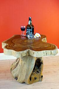 Details Sur Table Basse Bois Teck Massif Exotique Tronc D Arbre Racine Emousse Nature