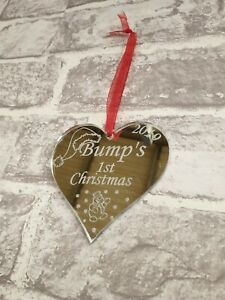 Bump S First Christmas Tree Decoration Bauble Mum To Be Gifts Present Baby 2019 Ebay