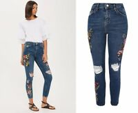 BNWT Topshop Tropical Floral Toucan Embroidered Ripped Jamie Jeans W30 L28 UK 12