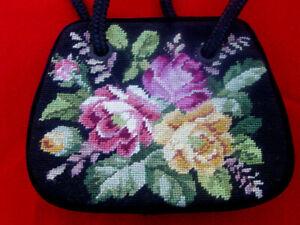 Velvet Needle Point Vintage Victorian Old West style Black with flowes handbag