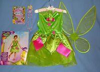 Disney Tinkerbell Costume Girl 7-8;fairy Wings;hair Set;necklace/bracelet;lot-11