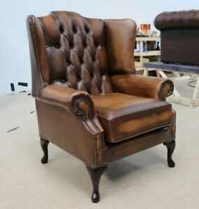 Chesterfield-Bloomsbury-Queen-Anne-High-Back-Wing-Chair-Vintage-hellbraun-Leder