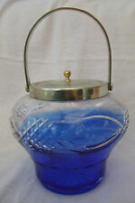 ANTIQUE VICTORIAN BLUE CLEAR CUT GLASS BISCUIT BARREL SILVER PLATE EPNS MOUNTS
