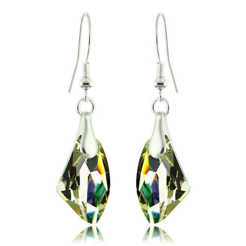 925 Sterling Silver Faceted Galactic Golden Topaz Crystal Dangle Earrings