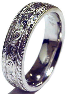 NEW! LADY\'S 6MM WIDE HAND ENGRAVED 14K WHITE GOLD WEDDING BAND RING ...