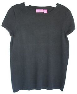 83b9e0f48c325 Image is loading LIZ-LANGE-MATERNITY-Black-Sweater-Top-Short-Sleeve-