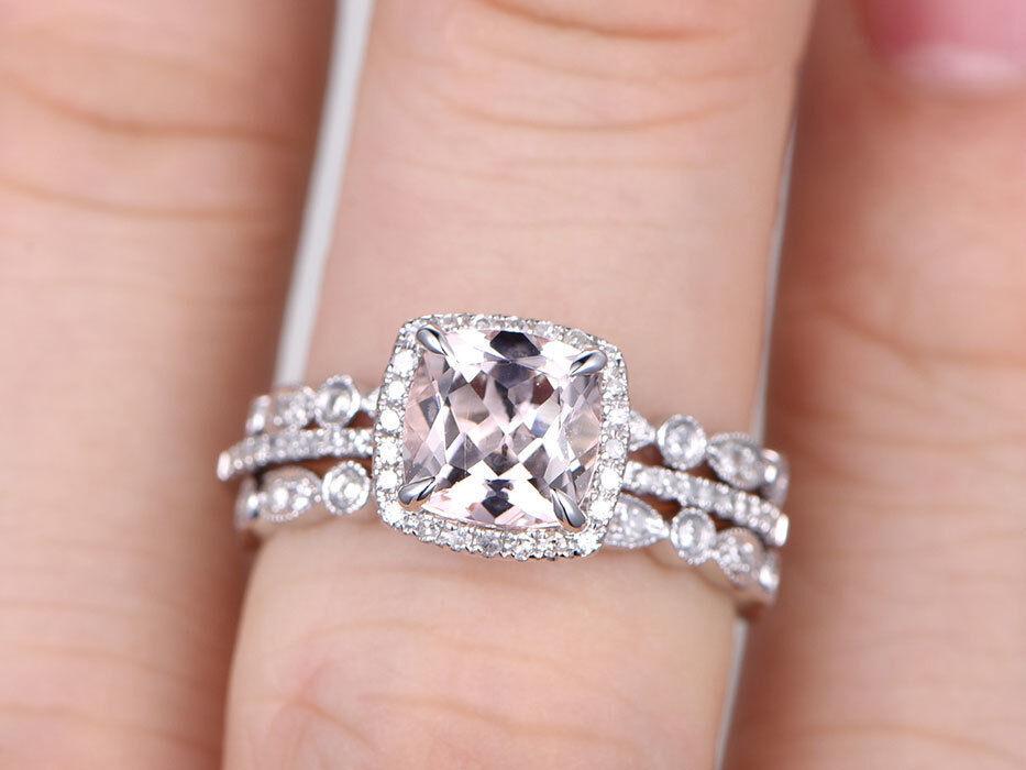 8x8mm Cushion Morganite & Dia 14K White gold Over Art Deco Wedding Trio Ring Set