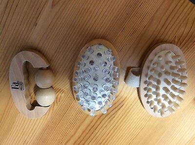 Herrlich 3 X Anti Cellulite Massagebürste Bürste Im Set Aus Holz Körperpflege Wellness HöChste Bequemlichkeit