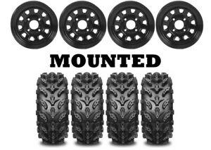 Kit 4 Interco Swamp Lite Tires 25x8-12/25x10-12 on ITP Delta Steel Black ACT