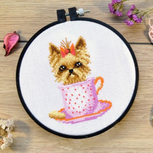 Puppy Cross Stitch Embroidery Kit Yorkshire Terrier Dog Counted Pattern DIY