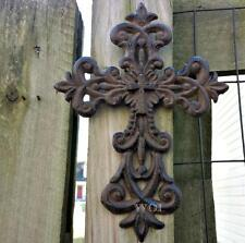 Metal Work Rustic Cast Iron Hanging Fleur De Lis Christ Cross Symbol Art Plaque