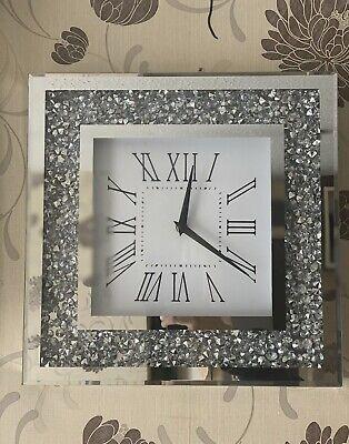 Sparkle Palais Large 30X30 Brillant Argent écrasé Cristal Miroir Horloge murale UK