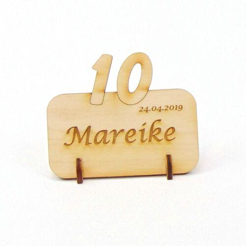 10 Firmen Jubiläum aus Holz Tischkarte Namensschild 10 Hochzeitstag Geburtstag