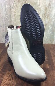 Men-039-s-Ankle-Boots-Leather-Bone-Sz-9-US-28-Mx-Botin-Charro-Hueso-Piel