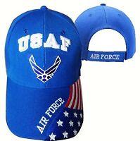 U.s. Air Force Emblem & American Flag Hat Cap Official Licenced
