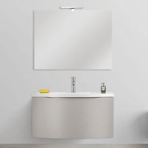 Arredo bagno sospeso design curvo 80 cm tortora opaco con for Arredo bagno alba