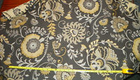 Gray Cream Yellow Flower Print Upholstery Fabric Remnant   F435