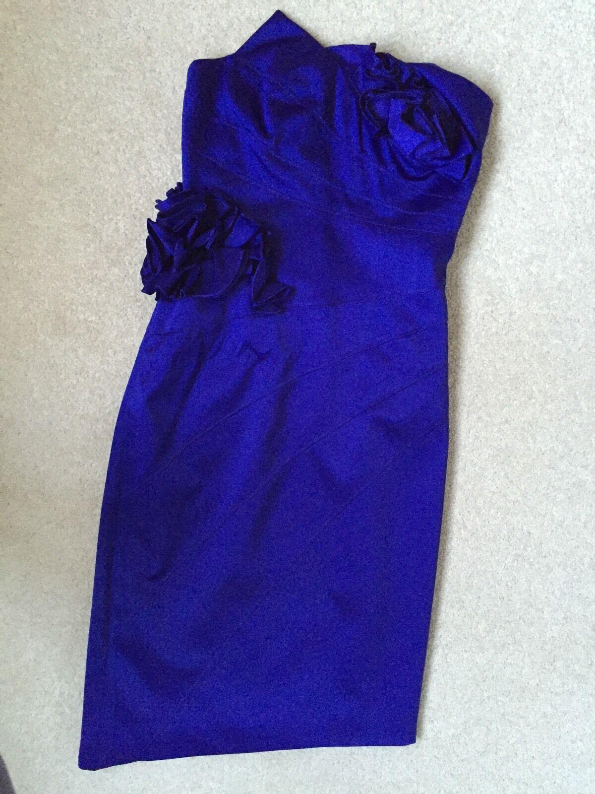 Cocktail Evening Dress Karen Millen Blau UK Größe 6 Silky