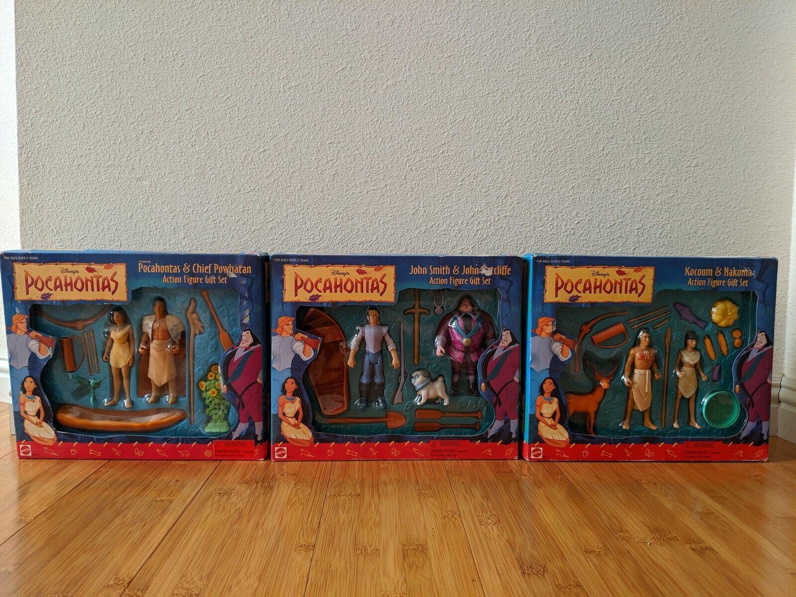 Vintage Mattel Pocahontas Figura De Acción Conjunto de 3 Juegos De Regalo Paquete