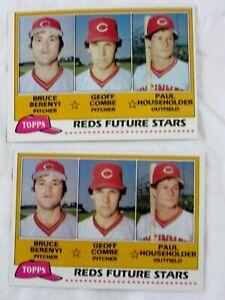 Two 1981 Topps Baseball FUTURE STARS RC #606 REDS BERENYI COMBE HOUSEHOLDER
