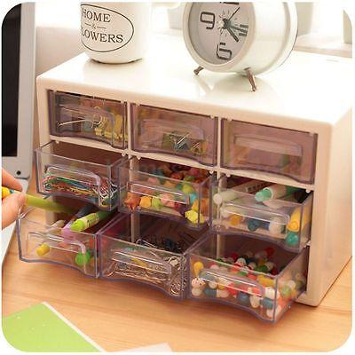 ~NEW~ 9 Lattice Portable Mini Desktop Drawer Cosmetic Jewelry Storage Box Random