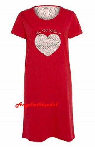 Primark New Women`s Girl`s Ladies Red Valentines Night Dress Long T-Shirt Nighty