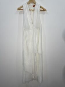 Manning Cartell White Grecian Layered Midi Dress Size 12 EUC