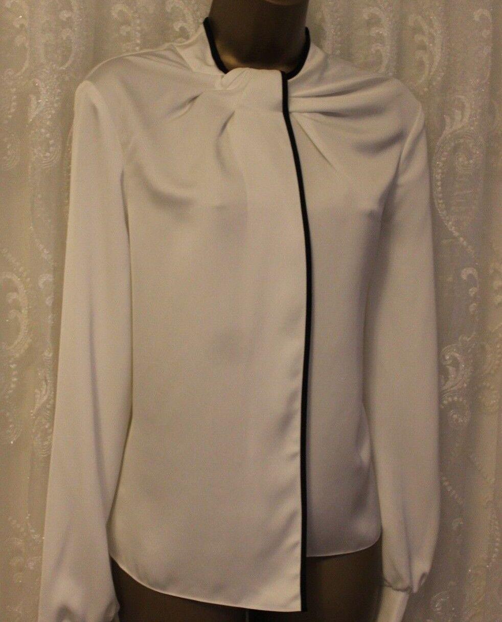 Karen Millen Ivory Contrast High Neck Formal Shirt Office Blouse Top  8 36 TA168