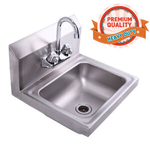 Stainless Steel Hand Wash Sink Washing Wall Mount Commercial Kitchen Heavy Duty 613852604366 Ebay