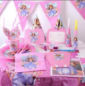 116pcs sofia princess paper cup plate fork spoon kids birthday