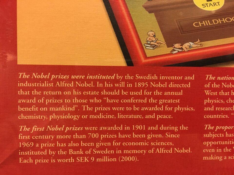 The Nobel game, Voksen spil, brætspil