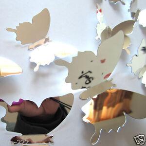 Stickers-muraux-Miroir-3D-papillons-12pcs-Set-decoration-Soiree-maison-chambre