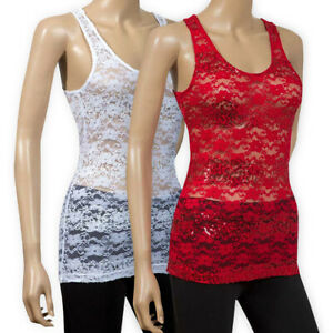 Womens-Ladies-Lightweight-Lace-Floral-Vest-Top-Party-Sequin-Sleeveless-T-Shirt