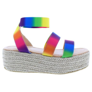 6b4b5309533c Liliana RASHA-14 Rainbow Ankle Strap Open Toe Natural Espadrille ...