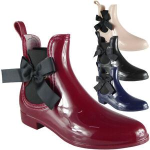 Chaussures-Femme-Bottines-Chelsea-Bow-Bottes-D-039-Hiver-en-Caoutchouc-Pluie-Neige-Femme-Tailles