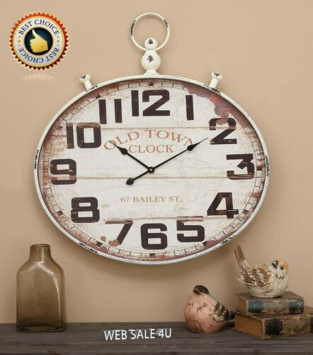 Details about  /Large Metal Wall Clock White Décor Oval Vintage Modern Farmhouse Rustic Art
