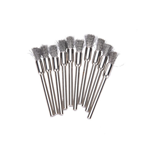 10pc Mini Wire Brush Brushes Cup Wheel for Grinder or Drill 3x5mm El