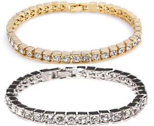 Damen-Tennis-Armband-Silber-Gold-Zirkon-Klar-Kristall-Ketten-PartnerFreundschaft