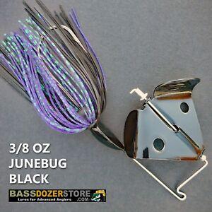 Buzzbait-RAPPER-3-8-oz-JUNEBUG-BLACK-buzz-bait-buzzbaits-KVD-trailer-hook