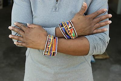 Two African Maasai Masai Kenya Bracelet Beaded Handcrafted Tribal Ethnic