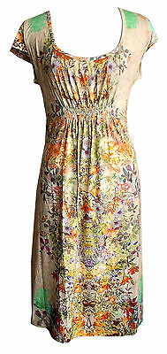 Container Kleid Dolores XS S M XL Empire Blumen Muster geblümt Stretch V461