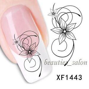 1sheet elegant black flower nail art water decals transfer
