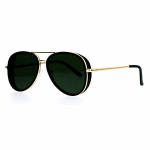 b719eae95f7e Image is loading Flat-Lens-Aviator-Sunglasses-Unisex-Designer-Fashion-Side-