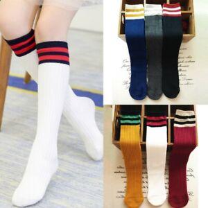 Toddler Kids Boys Girls Knee High Stockings Sports Football Soccer Long Socks
