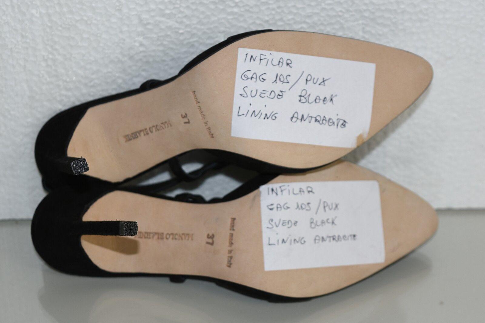 Neuf Manolo Blahnik Blahnik Blahnik Infilar Sandales Bb 105 Talons Daim Noir Chaussures Bride 37 7b6904